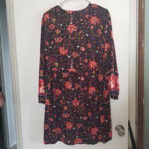 Old Navy Black Long Sleeve Lightweight Floral Dres